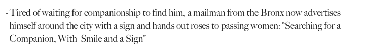 Tired of waiting for companionship to find him, a mailman from the Bronx now advertises 