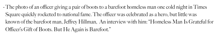 The photo of an officer giving a pair of boots to a barefoot homeless man one cold night in Times 